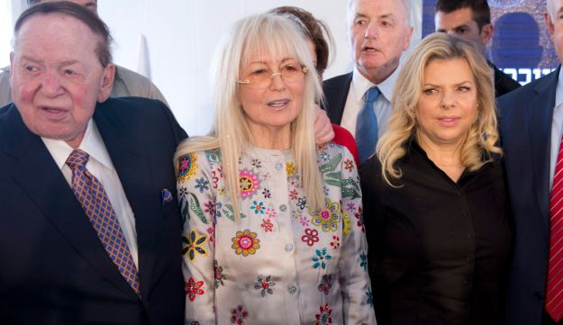 Sheldon and Miriam Adelson with Sara and Benjamin Netanyahu at Ariel in the West Bank, June 2017.
