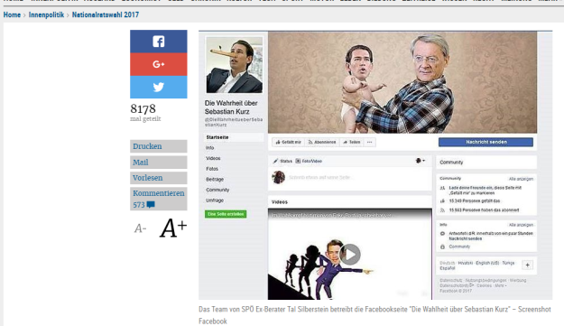 A screenshot of the 'The Truth about Sebastian Kurz' Facebook page from the 'Di Presse' website