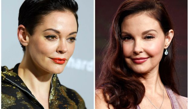 This combination photo shows actors, Rose McGowan at a premiere in Los Angeles on April 15, 2015, left, and Ashley Judd in Beverly Hilla, Calif. on July 25, 2017.  Producer Harvey Weinstein is taking a leave of absence from his company after The New York Times released a report alleging decades of sexual harassment against women, including employees and actress Ashley Judd. The Times reports two company officials say at least eight women have received settlements, including actress Rose McGowan. (AP Photo/File)