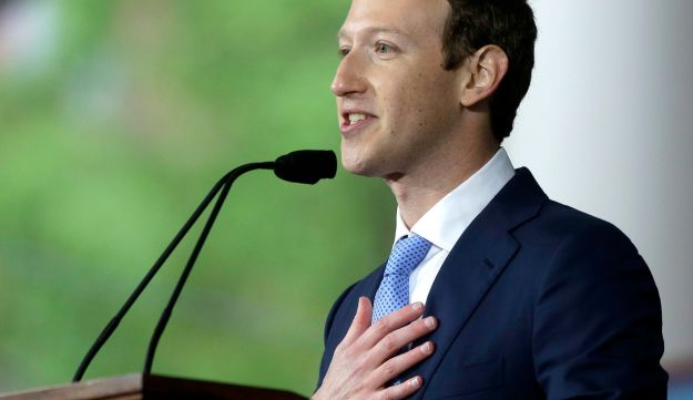 Facebook CEO Mark Zuckerberg delivering the commencement address at Harvard University, May 25, 2017.