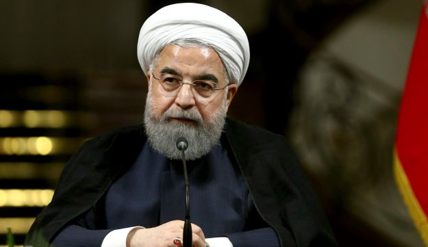 Iranian President Hassan Rohani speaks with media during a press conference in Tehran, Iran, October 4, 2017.
