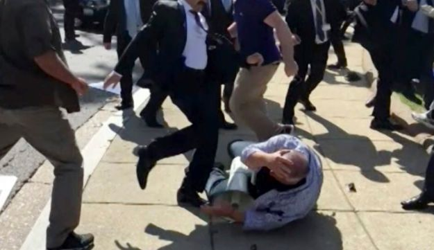 Members of Turkish President Recep Tayyip Erdogan's security detail are shown violently reacting to peaceful protesters during Erdogan's trip to Washington.