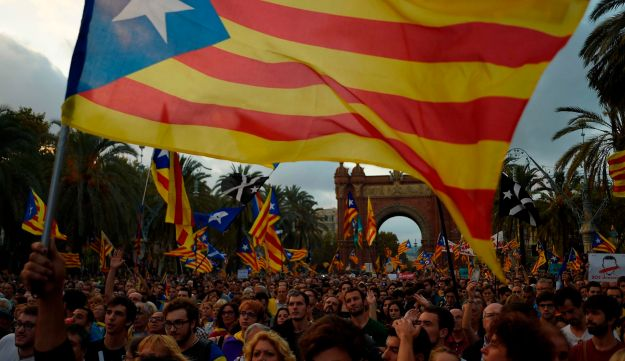 Supporters of an independent Catalonia in Barcelona on October 10, 2017.