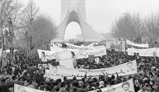 Demonstrators in Tehran, supporting Khomeini during the Iranian Revolution of 1979.