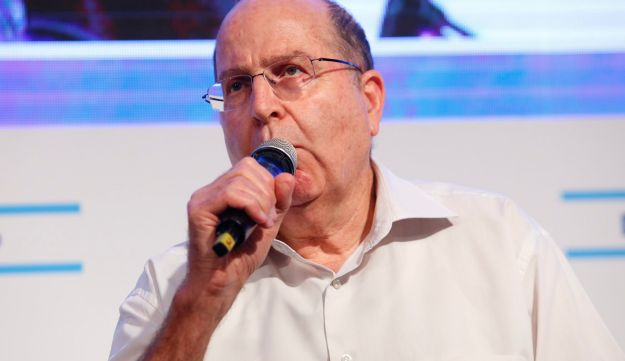 Former Defense Minister Moshe Ya'alon speaks at a conference in Tel Aviv, September 1, 2017.