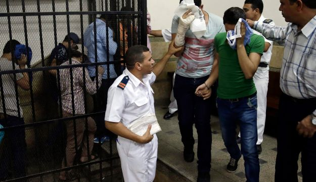 Eight Egyptian men convicted for 'inciting debauchery' following their appearance in a video of an alleged same-sex wedding in Cairo, Egypt, November 1, 2014.