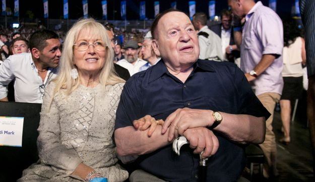 Sheldon and Miriam Adelson at the Taglit Birthright Israel event in Rishon Letzion,June 25, 2017.