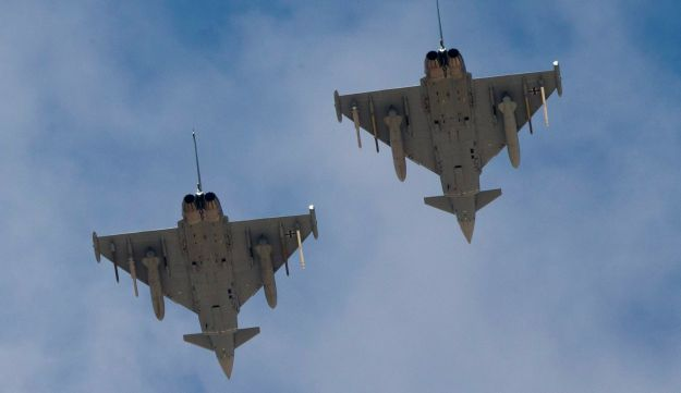 Two German Eurofighter Typhoon fighter jets fly over Ovda airbase near Eilat, southern Israel during the 2017 Blue Flag exercise on Nov. 8, 2017