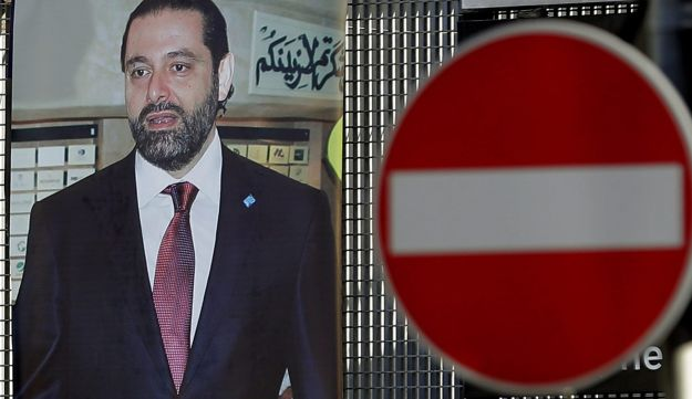 A poster of Lebanese Prime Minister Saad Hariri at a street junction in the capital of Beirut, November 15, 2017.