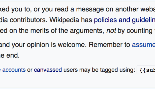 A screengrab from inside deletion debate warning one-time editors not to vote.