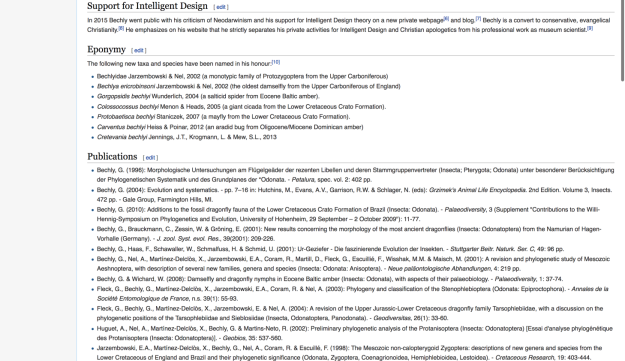 A screengrab of Günter Bechly's deleted Wikipedia entry.