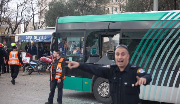 The scene of the 2011 terrorist attack opposite the Jerusalem Convention Center