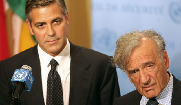 Nobel Peace Prize winner Elie Wiesel and actor George Clooney after addressing the UN Security Council on the crisis in Darfur. Sept. 14, 2006