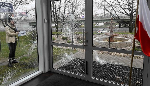 The shattered glass of the Muslim Cultural Center in Warsaw on November 27, 2017, after it was vandalized