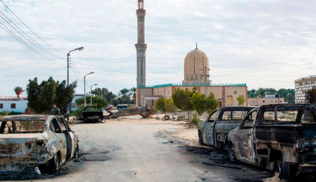 The Rawda mosque, some 40 kilometers west of El-Arish, after an attack, Sinai, Egypt, November 25, 2017.