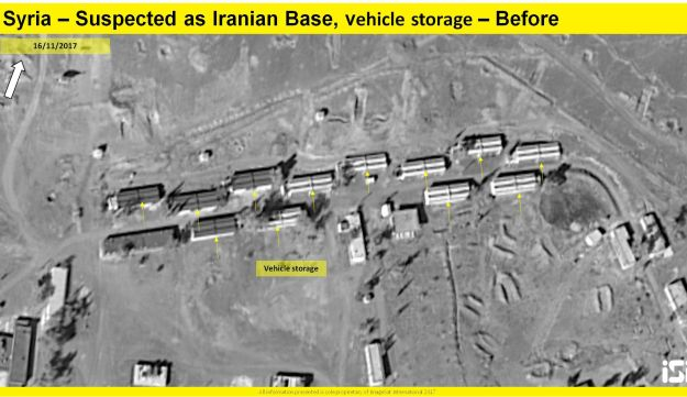 A satellite photo shows the extent of damage caused by the alleged Israeli strike on an Iranian military base in Syria