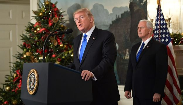 U.S. President Donald Trump delivers a statement on Jerusalem from the White House in Washington as Vice President Mike Pence looks on, December 6, 2017.