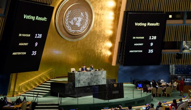 The results of the vote on Jerusalem being posted in the General Assembly, Dec. 21, 2017, at United Nations headquarters.