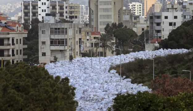 Packed garbage bags are pictured in Jdeideh, Beirut, Lebanon February 23, 2016.