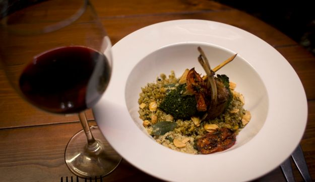 Mixed Palestinian French dish, Freekeh lamb rack, is seen at Orjuwan restaurant in the West Bank city of Ramallah, February 20, 2016.