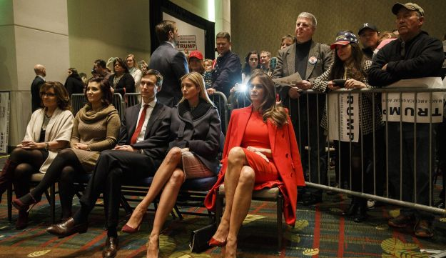 Jared Kushner, daughter Ivanka Trump, and wife Melania Trump listen during a campaign event in Cedar Rapids, Iowa, U.S., on Monday, Feb. 1, 2016.