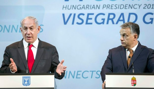 Hungarian Prime Minister Viktor Orban, right, listening to Prime Minister Benjamin Netanyahu during a press conference in the Pesti Vigado building in Budapest, Hungary, July 19, 2017.
