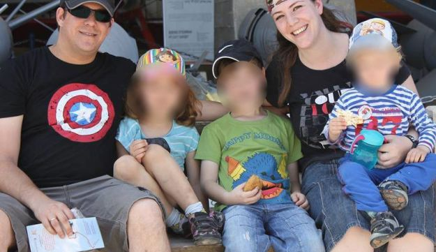 Elad Salomon, who was killed in a terror attack in the West Bank settlement of Halamish, with his wife, Michal and their children.