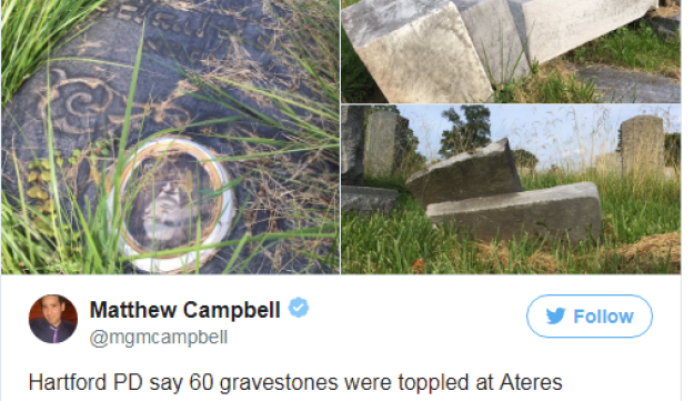 Tweet of photos of vandalism at Ateres Knesseth Israel cemetery in Hartford, Conn.