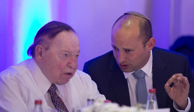 Naftali Bennett and Sheldon Adelson at the cornerstone-laying for Ariel university's medical school, June 2017.