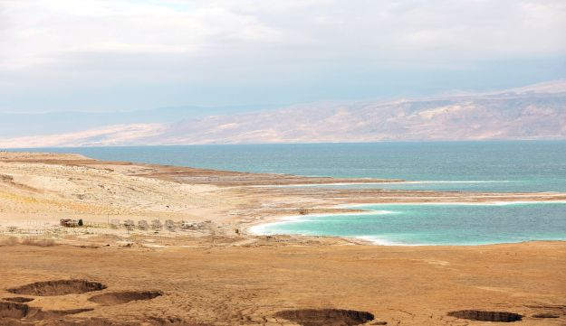 The Dead Sea's receding shoreline exposes large swaths of what until a few decades ago was the sea floor.