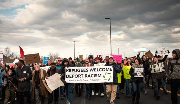 March led by JVP-Philly in protest of the Muslim travel ban February 3, 2017.