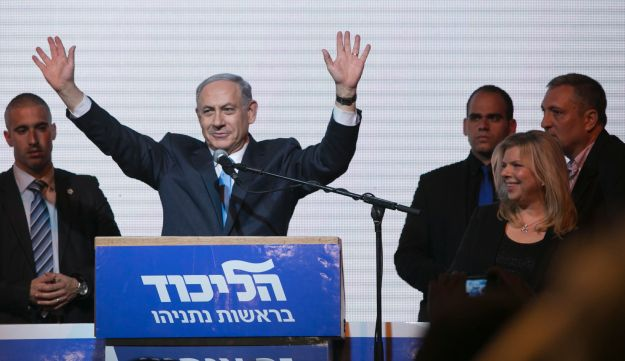 Netanyahu in the Likud election headquarters after the release of the exit polls, March 18, 2015.