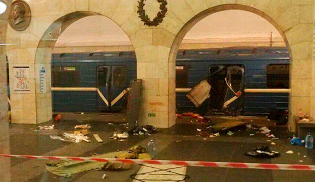 A subway train hit by an explosion at a subway station in St. Petersburg, Russia, April 3, 2017.