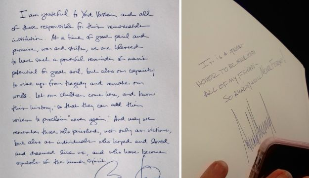 Former president Barack Obama's message is on the left, U.S. President Donald Trump's message on the right.