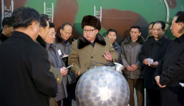 North Korean leader Kim Jong Un meets nuclear scientists and technicians in Pyongyang in a photo released by North Korea's Korean Central News Agency, March 9, 2016.