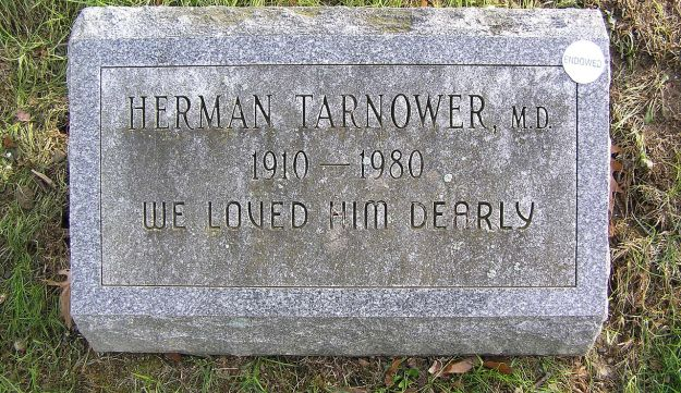 """The gravesite of Herman Tarnower, 1910-1980, in Mount Hope Cemetery. Engraved on the gravestone: """"We loved him dearly"""""""