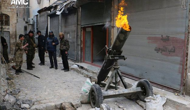 Syrian rebels firing locally made shells against the Syrian government forces, in Aleppo, Syria. Feb. 15, 2015