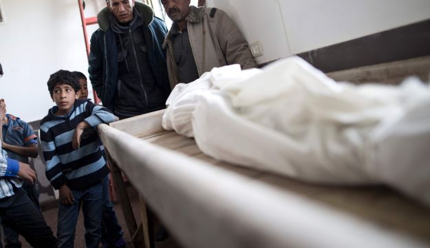 Body of Yassin Saliman Abu Khousa, a Palestinian boy killed after his house was hit by fragments from an Israel missile fired in response to rocket fire, in northern Gaza Strip. March 12, 2016.