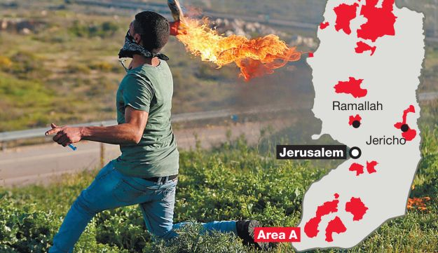 A Palestinian throwing a Molotov cocktail outside Ramallah over the weekend.