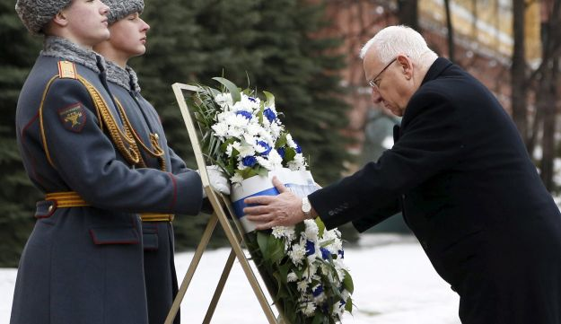 Israeli President Reuven Rivlin in Moscow, March 16, 2016.