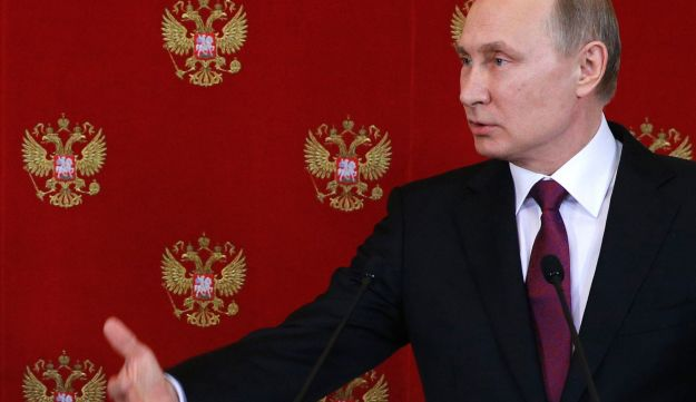 Russian President Vladimir Putin holds a press conference in Moscow on April 11, 2017.