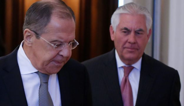 Russian Foreign Minister Sergei Lavrov and U.S. Secretary of State Rex Tillerson enter a hall during their meeting in Moscow, Russia, April 12, 2017.