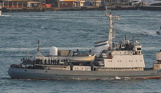Russian Navy reconnaissance frigate Liman leaves from the Russian Black Sea fleet's base at Sevastopol on the Crimean peninsula.