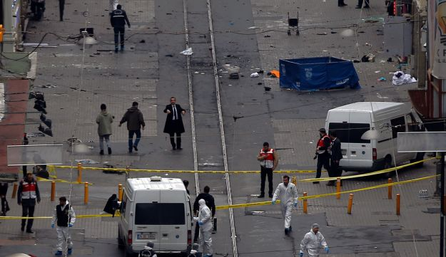Emergency services at the scene of an explosion in Istanbul, Turkey, March 19, 2016.