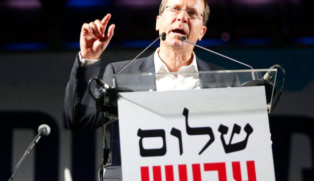 Opposition leader Isaac Herzog at a rally in Tel Aviv in support of a two-state solution May 27, 2017.