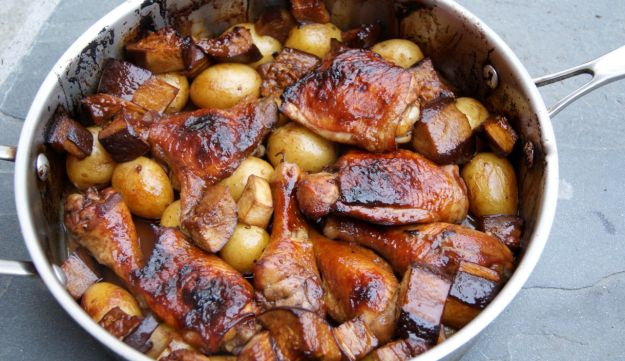 Roasted chicken and eggplant in date and pomegranate molasses.