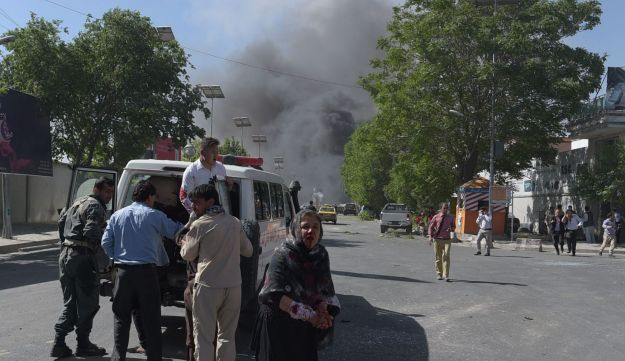 Smoke is seen rising from the site of a car bomb attack in Kabul, May 31, 2017.