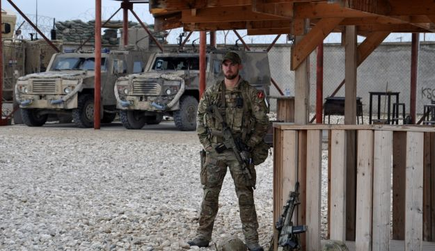 File photo: A soldier stands guard at camp Shaheen in Mazar-i-Sharif, Afghanistan on March 26, 2017.