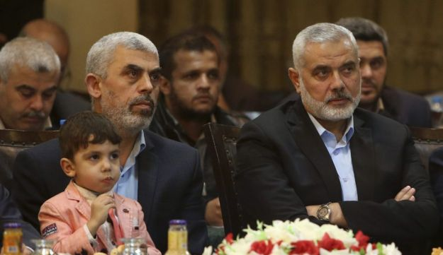 Hamas chief Yahya Sinwar, left, with Hamas political wing head Ismail Haninyeh, in May 2017.