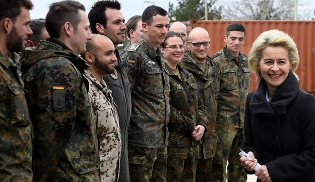 German Defense Minister Ursula von der Leyen chats with soldiers during a visit of the German Armed Forces Bundeswehr at Incirlik airbase, Turkey, January 21, 2016.